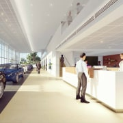 The new BMW Takapuna showroom aims to offer architecture, automotive design, building, car, ceiling, design, floor, interior design, lobby, luxury vehicle, office, vehicle, gray, white