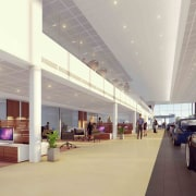 The core of the new BMW showroom is airport, airport terminal, architecture, building, ceiling, infrastructure, interior design, lobby, mixed-use, shopping mall, gray