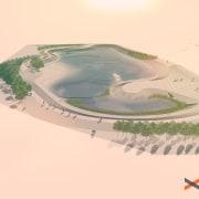 An artist's interpretation of the sculpted wetlands. Rendering: