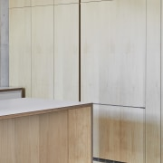 ​​​​​​​This kitchen's hoop pine veneer cabinetry is repeated architecture, cabinetry, cupboard, floor, flooring, furniture, interior design, material property, plywood, property, room, wall, wood, wood stain, gray