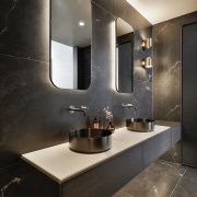 The Stardust Deep 750x1500mm porcelain tile runs floor