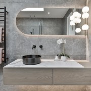 The main bathroom's Trilogy Sandy Grey tile not
