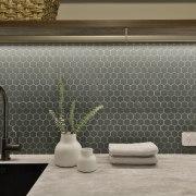 Hexagonal Beton Green Echo mosaics were introduced as