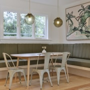 Crafted banquette seating matches the look of the