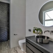 Impervious to water, the porcelain wood-look floor tiles