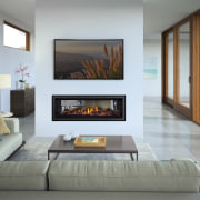 Learn more about this fireplace. fireplace, floor, hearth, interior design, living room, wall, gray, white