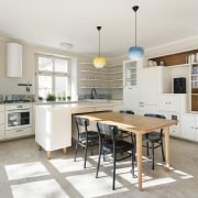 Pendants provide splashes of colour in the first