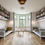 Material-coded – wood floors feature on the second