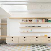 Third floor living space with distinctive flooring.