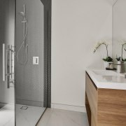 The large, contemporary shower stall in the main