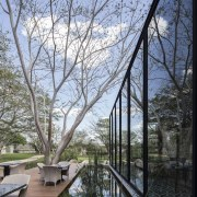Architect: Central de Proyectos SCP architecture, branch, home, house, plant, real estate, reflection, tree, walkway, water, waterway, teal, black