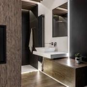 Architect: MetaformaPhotography by Krzysztof Strażyński bathroom, countertop, floor, flooring, interior design, product design, sink, tile, gray, black