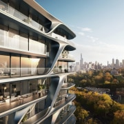 Mayfair Residential Tower – Zaha Hadid Architects apartment, architecture, building, city, condominium, metropolis, metropolitan area, mixed use, property, real estate, reflection, residential area, sky, urban design, white, black