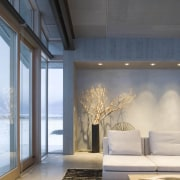 Architect: Olson Kundig Architects  architecture, ceiling, daylighting, floor, home, house, interior design, living room, wall, window, gray