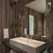 The bathroom is well appointed - The bathroom architecture, bathroom, floor, interior design, room, tile, wall, black