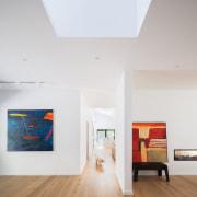 Architect: Bijl ArchitecturePhotography by Katherine Lu architecture, ceiling, daylighting, exhibition, floor, hardwood, home, house, interior design, living room, loft, room, wall, wood, wood flooring, white