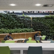The Datacom building features a green wall - plant, roof, gray