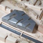 Municipal Offices and Train Station, Delft - Municipal architecture, product design, scale model, gray