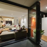 The sliding glass doors mean easy access to ceiling, interior design, real estate, gray, black