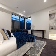 The master suite draws the eye in - bedroom, ceiling, estate, floor, home, interior design, property, real estate, room, gray
