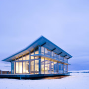 Architect: Olson Kundig Architects  architecture, arctic, building, cottage, home, house, sky, snow, winter, teal