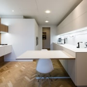 A popular choice in new kitchens, these informal architecture, cabinetry, ceiling, countertop, daylighting, floor, home, interior design, interior designer, kitchen, office, product design, real estate, room, gray, brown
