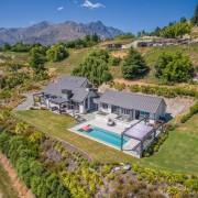 Park up under the pergola and enjoy the aerial photography, bird's eye view, estate, property, real estate, brown