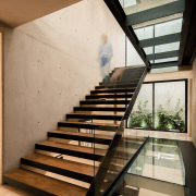 These glass walkways aren't just for aesthetics – architecture, daylighting, glass, handrail, home, house, interior design, stairs, brown