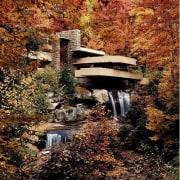 From its daring cantilevers to its corner window autumn, leaf, nature, plant, reflection, state park, tree, water, water feature, watercourse, brown