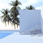 Steps from the house down to the pool architecture, arecales, furniture, house, outdoor furniture, palm tree, product design, sky, sunlounger, water, teal, white