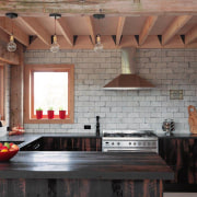 Recycled beams used in kitchen of new family beam, ceiling, countertop, floor, flooring, interior design, kitchen, living room, wall, window, wood, black, gray, brown