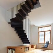 To  make  the  flats  architecture, ceiling, daylighting, handrail, home, house, interior design, stairs, gray
