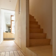 In addition to 5 floors of approximately 45m² architecture, daylighting, floor, flooring, handrail, hardwood, house, interior design, laminate flooring, plywood, property, stairs, wall, wood, wood flooring, wood stain, brown