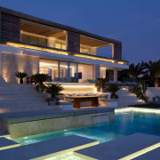 Exterior of the house - Exterior of the apartment, architecture, estate, home, hotel, house, lighting, mansion, property, real estate, resort, swimming pool, villa, blue