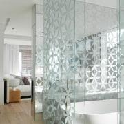Ensuite bathroom - Ensuite bathroom - architecture   architecture, ceiling, daylighting, floor, glass, interior design, tile, wall, window, gray