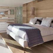 Wooden natural themed room - Wooden natural themed bed, bed frame, bedroom, floor, flooring, furniture, hardwood, home, interior design, mattress, real estate, room, suite, wall, wood, wood flooring, gray, brown