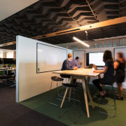 Open meeting room - Trustpower's New Headquarters - architecture, ceiling, furniture, interior design, office, table, black