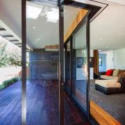 View out onto the deck - Windowmakers windows architecture, daylighting, door, floor, glass, hardwood, house, interior design, real estate, window, wood, wood flooring, gray