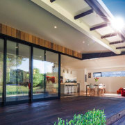This image demonstrates the indoor-outdoor flow - External architecture, ceiling, condominium, daylighting, estate, facade, home, house, interior design, lobby, property, real estate, roof, window, gray