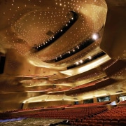 Farewell to Dame Zaha Hadid - Guangzhou Opera auditorium, light, lighting, night, opera house, performing arts center, theatre, brown