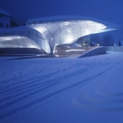 Farewell to Dame Zaha Hadid - Nord Park architecture, atmosphere, atmosphere of earth, blue, daylighting, daytime, lighting, sky, snow, structure, winter, blue