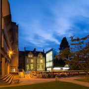 Farewell to Dame Zaha Hadid - Oxford University architecture, building, campus, city, estate, evening, home, landmark, lighting, night, real estate, sky, tourist attraction, brown, teal