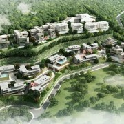 Site Rendering - Premia - bird's eye view bird's eye view, estate, land lot, mixed use, neighbourhood, residential area, suburb, urban design, village, green