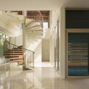 B House 04 - architecture | daylighting | architecture, daylighting, floor, glass, handrail, interior design, lobby, real estate, stairs, window, orange