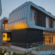 Exterior evening - B House 08 - architecture architecture, building, corporate headquarters, facade, home, house, mixed use, siding, black, gray
