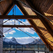 The form isn't without function – these roofs architecture, beam, building, daylighting, home, house, lighting, reflection, roof, sky, structure, sunlight, symmetry, window, wood, black