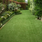 Residential landscape - artificial turf | backyard | artificial turf, backyard, flooring, garden, grass, grass family, landscape, landscaping, lawn, plant, shrub, walkway, yard, green, brown