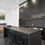 A black kitchen – cabinets and island included architecture, countertop, interior design, kitchen, real estate, black