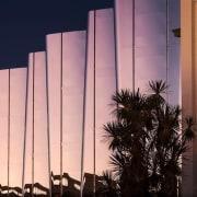 The Len Lye Centre is a contemporary art architecture, building, facade, sky, pink