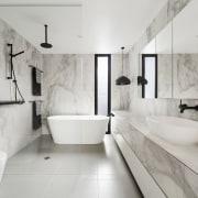 LSA Architects architecture, bathroom, floor, flooring, home, interior design, plumbing fixture, product design, room, tap, tile, gray
